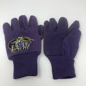 LSU Gloves With Grippers Purple Gold Embroidered